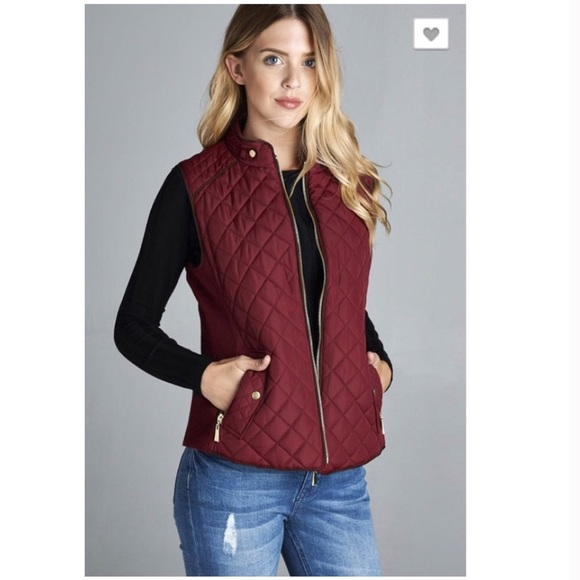 Jackets & Blazers - LAST ONE! Burgundy Quilted Vest Size Small